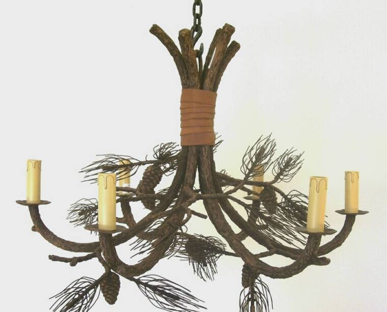 Markland Forge Handcrafted Rustic Iron Chandelier-Pinecone-#3001.