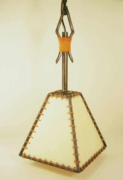 Markland Forge Rustic Hanging Pendant Light With Rawhide Shade.#1102.