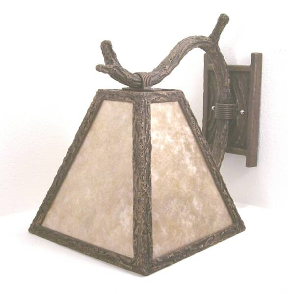 Markland Forge Rustic Wall Sconce #0590 With Mica Shade.